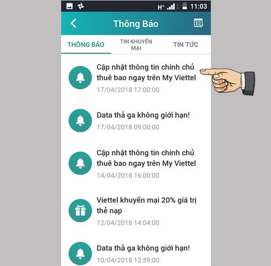 bổ sung thông tin chính chủ SIM Viettel 1