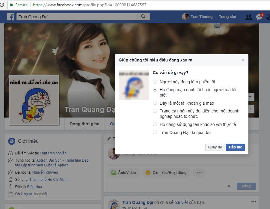 Thủ thuật báo cáo mạo danh tài khoản Facebook 3